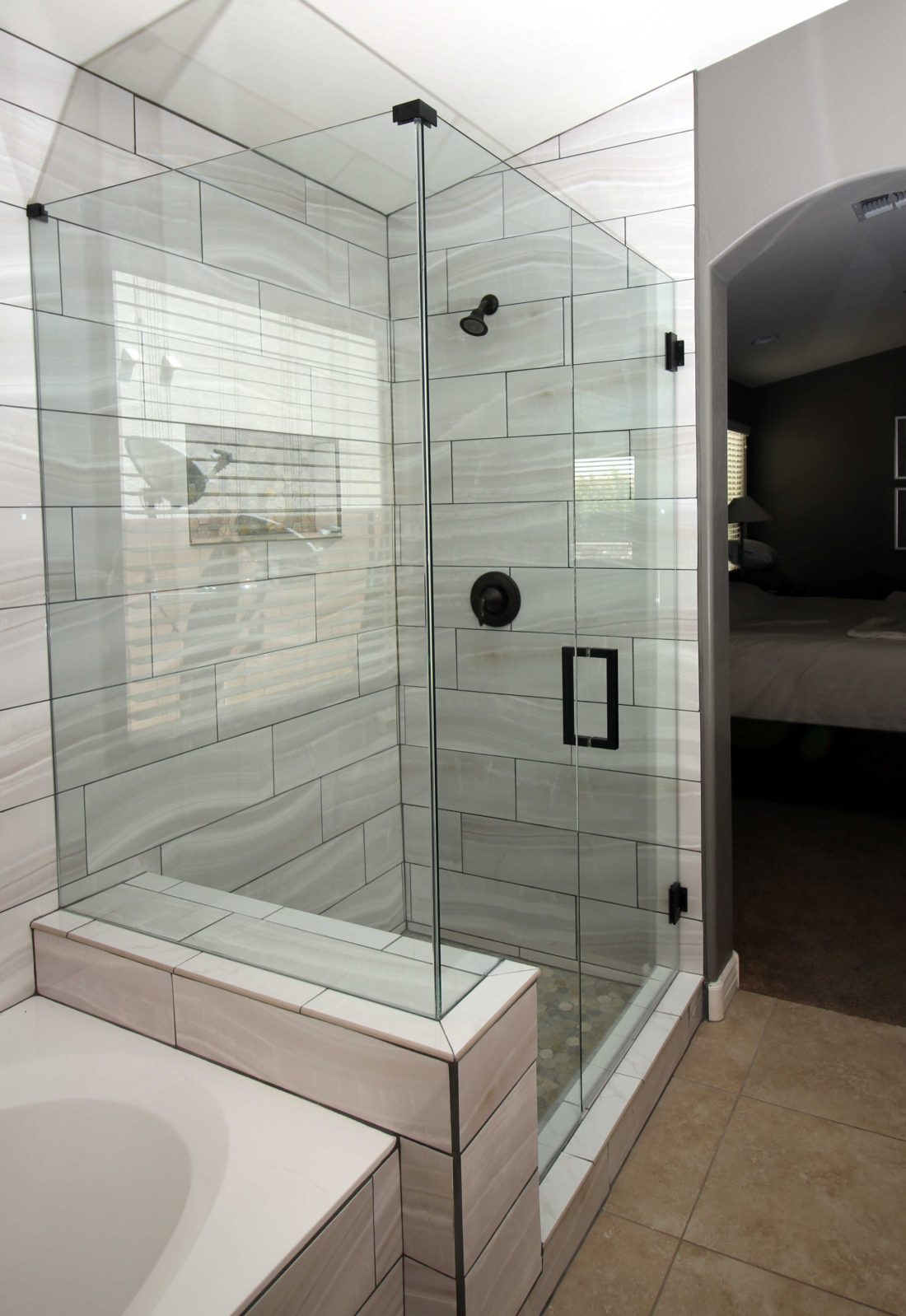 90 degree shower frameless